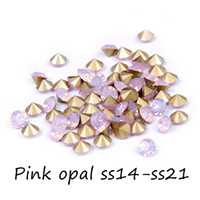 Wholesale Crystal Ss14 - Retail Crystal Rhinestone For Decoration ss14-ss21 Pink Opal Color Pointback Glass Stones Glitter Beads For Jewelry Making DIY