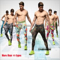 Atacado-Sport Pant Mens Compression Jogging Quick Dry camada de base Correndo Academia Camo Calças justas Gym Wear Plus Size respirável Pant