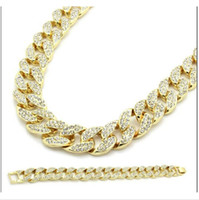 Wholesale silver chains cuban - New Arrival Miami Cuban Link Chain Gold Plated Fully Iced Out Hip Hop Bling 2016 Hot Sale Promotion Chain Free Shipping