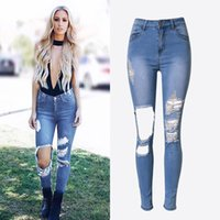 Wholesale Lady S Denim - The new arrival european and American fashion ladies slim hole irregular elastic personality washed denim blue jeans size XS S M L XL XXL