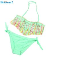 Опт-Premium Swimsuit Bikini 2017 Baby Baby Girls Summer Tassel Kids Split Swimwear Бикини Beachwear для детей Подарки для девочек