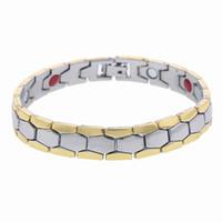 Wholesale Magnetic Bracelet Health For Men - Men's link chain Bracelet Silver Color Copper Sports Magnetic Health Care Bracelet & Bangles for women men Jewelry gifts