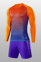 Wholesale Team T Shirts Wholesale - Long Sleeve custom soccer jersey soccer Sets for men soccer team T shirts Tops With Shorts shorts,Customized mens Personalized Team Uniforms