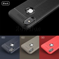 Shockproof Litchi Pattern Soft TPU Case coque para Apple iPhone 7 8 Plus X iPhone7 Cobertura em couro de borracha de silicone Logo Hole - DHL Shipping