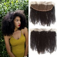 "Wholesale Top Closure Density - Ear to ear brazilian lace frontal closure with baby hair 13X4"" Top Afro Kinky Curly Natural color density 130% G-EASY hair"