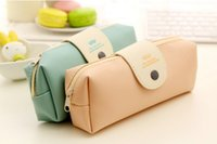 Wholesale cute pencil cases for girls - Wholesale-New Cute Kawaii Pure Color Mustache Pattern Pu Leather Pencil Case School Pencil Bag For Girls Korean Stationery Office School