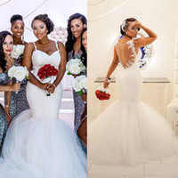 Wholesale Africa Crystal - 2Hot 2016 Full Lace Spaghetti Illusion Back Mermaid Plus Size Wedding Dresses Modest South Africa Tulle Chapel Train Bridal Gowns