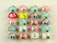 Wholesale Cheap Gift Set Free Shipping - Wholesale Lots 100pcs Resin Lucite Princess Frozen elsa Pattern Kid Children Rings Jewelry Cheap Rings Jewelry Free Ship