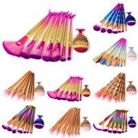 Wholesale 3d glitter makeup - 8pcs set Mermaid Makeup brushes Set Make Up Brush 3D Diamond Colorful Spiral Bling brushes Fundation Powder Cream Blush Glitter Brush Kit