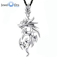 Wholesale Titanium Dragon Pendant - Wholesale-Dragon Shape Accessories Necklaces & Pendants For Men New 2016 Fashion Silver Jewelry Necklace(Jewelora NE101104)
