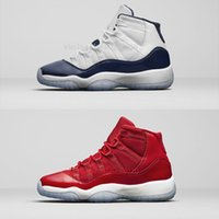Wholesale Womens Navy Blue Flats - High quality Air Retro 11 UNC Gym Red Navy Blue Man Basketball Shoes Win Like 82 96 womens Sports Trainer Sneakers Eur 36-47