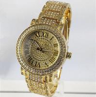 quarz damen gold armbanduhren großhandel-Neuer berühmter Luxuxkristall-Vorwahlknopf-Armband-Quarz-Armbanduhr-Weihnachtsgeschenk für Damen-Frauen-Goldrosen-Goldsilber-Großverkauf Freies Verschiffen