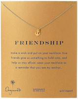 Wholesale gold anchor pendant necklace for sale - Group buy Dogeared Choker Necklaces With Card Gold Silver Anchor Pendant Necklace For Fashion Women Jewelry for Friendship