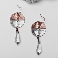 Wholesale Vintage Chandelier Crystals - Vintage Oxidized Silver Copper Half Circle Geometric Earrings Water Drop Crystal Chandelier Drop Earrings for Women Statement Earrings