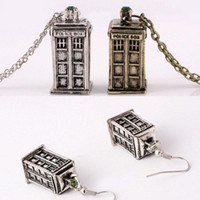 Wholesale Wholesale Personalized Girls Necklace - Doctor who Tardis pendant necklace+ earrings set vintage mysterious Ancient antique personalized statement Jewelry for girls