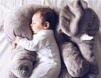 Wholesale Children Animal Pillow - Retail 2017 elephant pillow baby doll children sleep pillow birthday gift INS Lumbar Pillow Long Nose Elephant Doll Soft Plush 30cm