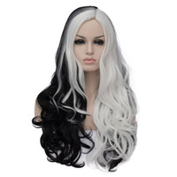 Wholesale long wave costumes hair for sale - Women Long Wavy Synthetic Black and White Patchwork Colors Cosplay Hair Costume Wigs For Party With Free Wig Cap