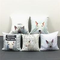 ingrosso disegni di cani-Rafael Mantesso Disegni 55 Stili Bull Terrier Cani Cuscini Cuscini Copertina Cute Dog Federa Decorativa Divano Sedia Cuscino Morbido