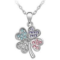 Wholesale Gold Clover Charm Necklace - Fashion Accessories For Women Crystal Necklace Clover Pendants Charm 18KRGP Costume Jewellery (5- colors) Free shipping 664