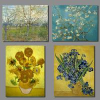 lienzo imagen vasos al por mayor-Van Gogh Irises Impresionista Almond Blossom Still Life Florero con quince girasoles Canvas Painting picture Lámina sin marco