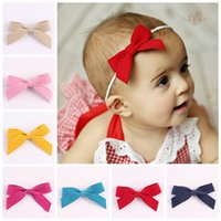 Wholesale Thin Hairbands - 2016 faux leather hair bows baby girls thin headbands cute bowknot hair accessories boutique hairband elastic bands kids headband wholesale