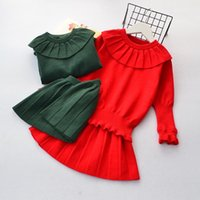 Wholesale Knit Doll Wholesale - Girls Outfits kids pure color doll collar long sleeve knitting pullover+pleated dress 2pcs sets Autumn Children princess Clothing C1455