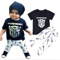 Wholesale Picture Guitars - PrettyBaby 2016 summer boys T-shirts and trousers cotton Iron man printed T-shirts guitar picture trousers kids clothes free shipping
