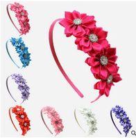 Wholesale Diamond Flower Lace Headband - Korean children hair hoop wholesale four diamond polygon flower handmade flower headbands new hot FG027