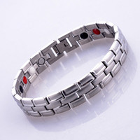 Wholesale Anion Germanium Bracelet - 2016 free shipping Fashion Silver Stainless Steel Quantum Bio Energy Magnetic Health Bracelet With Germanium Infrared Anion Benefits inlay