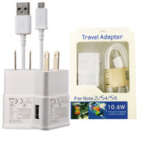 Wholesale Wholesale Iphone Travel Kits - For Samsung Adaptive Wall Charger Real 1000 mAh with Micro USB Cable Home Travel Adapter Kits 2 in 1 with New Package For Galaxy S4 S5 S6 S7