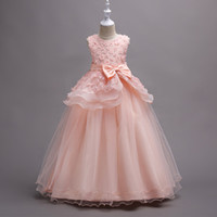 Wholesale Elegant Dress Skirt Children - Kids Clothing Flower Girls Dresses Princess Tutu Skirt Lace Sleeveless Wedding Big Bow Elegant Children Clothing