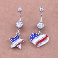 Wholesale Heart Shaped Belly Button Rings - free shipping fashion luxury hot sale 10pcs lot Five-pointed star heart shaped flag navel belly button rings body piercing jewelry