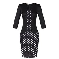 Mini Dress for Spring for sale - Dresses For Womens Plus Size Dresses Spring Autumn Three Quarter Long Sleeves O-Neck For Ladies Casual Printing Work Pencil Dress Vestidos
