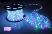 Wholesale Motifs Led - Hot sales 110V 220V 100M 1roll 2wire round LED rope light motif PVC Rainbow tube flexible strip with Power plug warterproof outdoor
