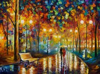 Wholesale modern palette knife online - In The Street Romantic Lover Modern Palette Knife Oil Painting Canvas Print Art for Home Office Cafe Wall Decor NO A191