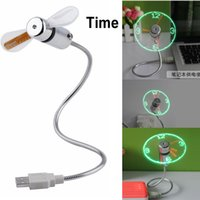 Wholesale New hot selling USB Mini Flexible Time LED Clock Fan with LED Light Cool Gadget Store