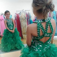 robe à volants vert pour fleurs filles achat en gros de-2016 Sparkly Kids Pageant Robes Sequined Beaded Green Flower Girl Gowns Sexy Back Flouncing Ruffle Ball Gown Princess Birthday Party Sets