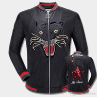 Wholesale clothes japan - New Hot Mens designer Windbreaker New Fashion Tiger Embroidery Bomber Jacket Men s PU Leather Motorcycle Pilot Jackets Clothing