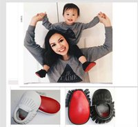 Wholesale Sole Baby Shoes Girl - Tassel Baby Shoes Fashion Europe genuine leather color matching Girls First Shoes soft-soled Toddler Prewalker W253