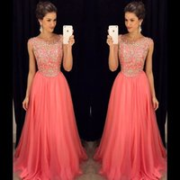 Wholesale Evning Long Dress - Water Melon Prom Dresses A Line Chiffon Scoop Handmade Crystal Beads Long Evning Dress Formal Dress
