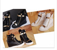 ingrosso cunei in pizzo nero-Hot Brand Donna Casual Zeppe Platform High Top Sneakers Bianco / nero Stone Pattern All'interno delle scarpe più alte Double iron Zipper Lace up Boots