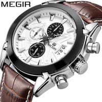 Wholesale Kinder Watch - MEGIR Multi - functional male watch explosion paragraph casual fashion men 's waterproof leather quartz watch,2 kinds can choose