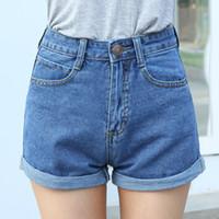 Wholesale Wholesale Women High Waist Shorts - Wholesale-High Waist Denim Shorts Plus Size XS 4XL Female Short Jeans for Women 2016 Summer Ladies Hot Shorts