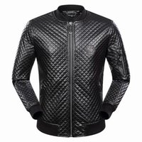 Wholesale Leather Punk Jackets Men - SS17 Tide Brand Fashion Celebr Desinger Faux Leather Punk jacket brand P9076 Coats PU Leather Slim fit Sporty Style Men Casual Jacket M-3XL