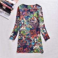 Wholesale Plus Size Bohemian Winter Clothing - Sexy Women Dress Print Flower Dresses Plus Size Xxxxl Dresses Long Sleeve Casual Winter Dresses Ladies Clothes 2016 New Hot Sale