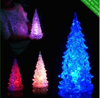 Wholesale Cristmas Gifts - 10pcs lot Cristmas Tree Decoration New Year Christmas Gift LED Dream changing color Crystal trees Ornaments for holidays
