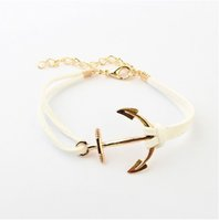 Wholesale Suede Bracelets - Wholesale-B066 European and American style Hot Multi-color 18K Gold Plated Anchor South Korean Fabric Leather Suede PUNK Bracelets #1618