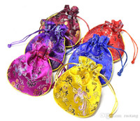 Wholesale Chinese Sachet - Dragon Phoenix Small Silk Brocade Pouch Jewelry Packaging Chinese style Coin Purse Spice Sachet Candy Gift Bag Christmas Party Favor 10pcs l