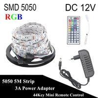 DC 12V RGB LED Streifen 5050 5M 300LED nicht wasserdicht Fita LED Licht Flexible Neon Bande LED Tape Lamp + 3A Power + 44Key Controller