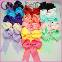 Wholesale Wholesale Bows Alligator Clip - Hot Sale 32 pcs lot 6 inch Solid Girls Cheer Bow Twist Grosgrain Ribbon Baby Kids Cheerleading Bows With Alligator Clip